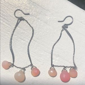 Jewelry - Silver and pink stone earrings